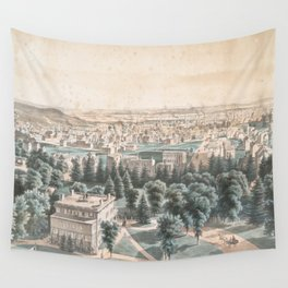 Vintage Pictorial Map of Newark NJ (1853) Wall Tapestry