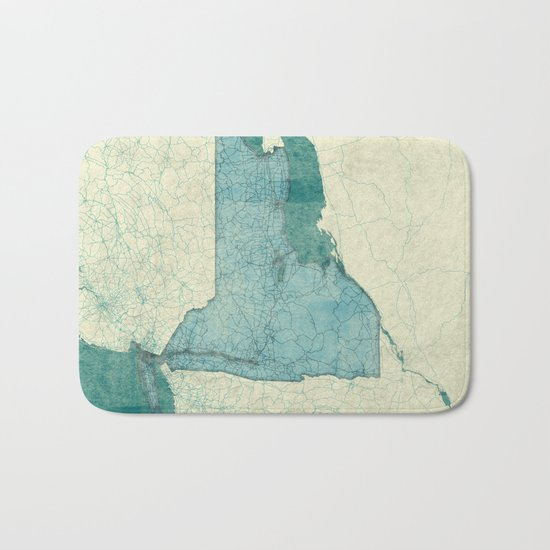 New York State Map Blue Vintage Bath Mat