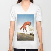 skateboard V-neck T-shirts featuring Skateboard FOX! by Jesse Robinson Williams