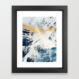 Sunset [1]: a bright, colorful abstract piece in blue, gold, and white by Alyssa Hamilton Art Framed Art Print