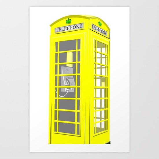 YELLOW PHONE BOOTH Art Print