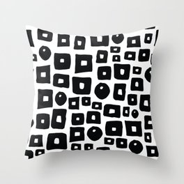 Geometrical hand painted black white squares circles Throw Pillow