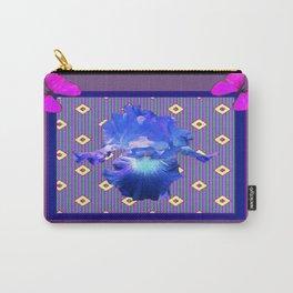 Decorative Fuchsia-Purple Butterflies Blue Iris Black Pattern Art Carry-All Pouch