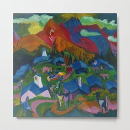 Return of the Animals Mountain Village Landscape painting by Ernst Ludwig Kirchner Metal Print