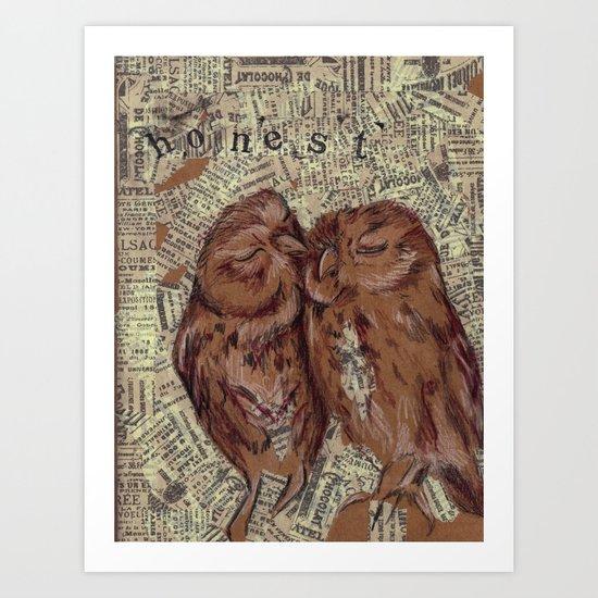 Honest Owl Couple Art Print