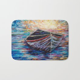 Wooden Boat at Sunrise my Painting with a Palette Knife Bath Mat
