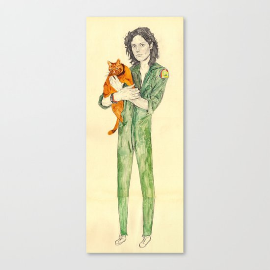 Ellen Ripley with Jones | Alien Canvas Print