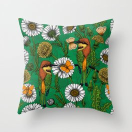 Bee eaters on a spring meadow    Throw Pillow