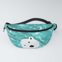 Playful Polar Bear In Turquoise Water Design Fanny Pack