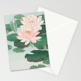 Water Lilies - Japanese vintage woodblock print Stationery Cards