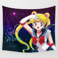 sailor moon Wall Tapestries featuring Sailor Moon  by Neo Crystal Tokyo