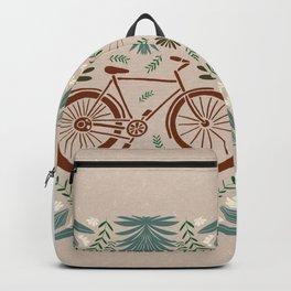 Bike and Flowers // Hand drawn Folk Art // Red and Green Backpack