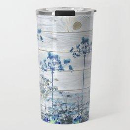 Rustic Barn Wood Series: Blue Farm Flowers Travel Mug