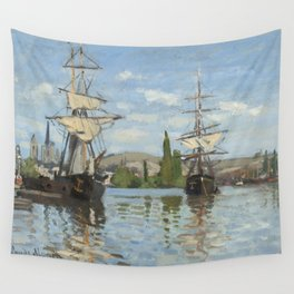 Claude Monet Ships Riding on the Seine at Rouen 18721873 Painting Wall Tapestry