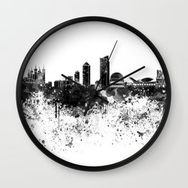 Lyon skyline in black watercolor Wall Clock