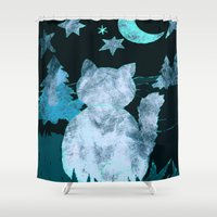watch Shower Curtains featuring Night Watch by Kay Weber