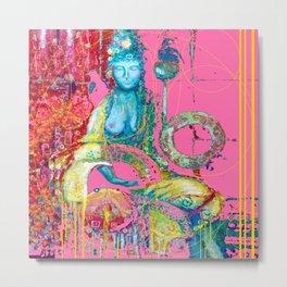 Diva at Royal Ease in Pinkish-coral, blue,Teals Abstract Metal Print