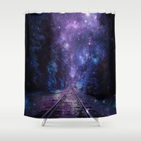 train Shower Curtains featuring TRAIN tracks by 2sweet4words Designs