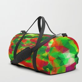psychedelic geometric polygon pattern abstract in red green pink Duffle Bag