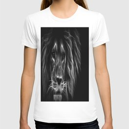 lion.  Black & White T-shirt
