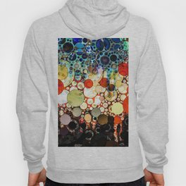 Contemporary Blue Orange Bubble Abstract Hoody