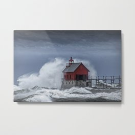 Grand Haven Lighthouse in a November Storm on Lake Michigan Metal Print
