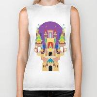 castle Biker Tanks featuring castle  by crayon dreamer