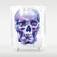 Skull Watercolor Purple Colorful Shower Curtain
