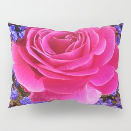CERISE PINK GARDEN ROSE & PURPLE FLOWERS Pillow Sham