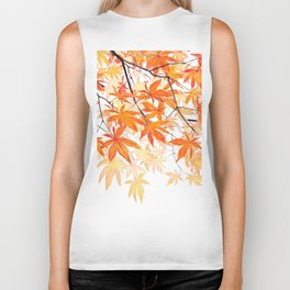 orange maple leaves watercolor Biker Tank