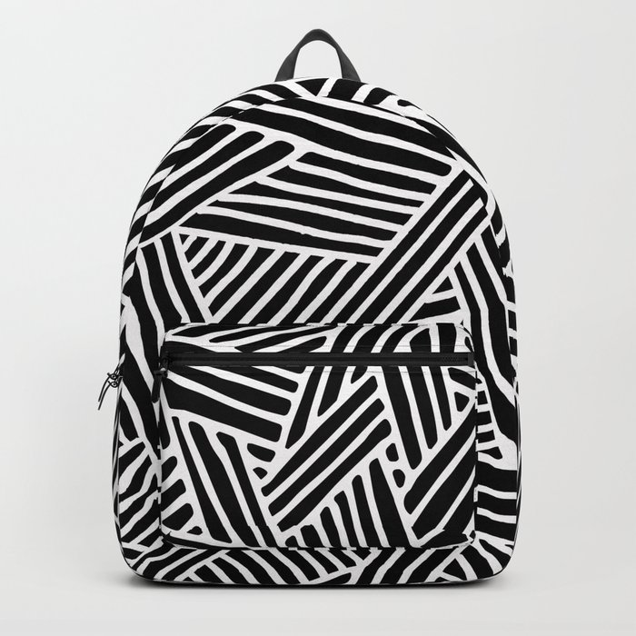Abstract black & white Lines and Triangles Pattern-Mix and Match with Simplicity of Life Backpack