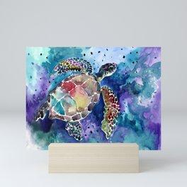 Sea Turtle underwater, beach deep blue barine blue turtle beach style design Mini Art Print