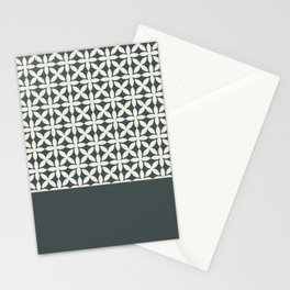 Pantone Cannoli Cream Square Petal Pattern on PPG Night Watch Pewter Green Stationery Cards