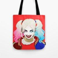 harley quinn Tote Bags featuring  ♦ ♠ HARLEY QUINN ♥ ♣ by Mothling