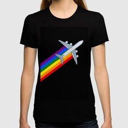 Rainbow Aircraft 747 jumbo jet travel gay lgbt rainbow Jet  T-shirt