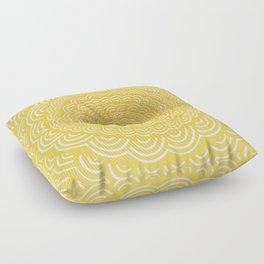 Spiral Mandala (Yellow Golden) Curve Round Rainbow Pattern Unique Minimalistic Vintage Zentangle Floor Pillow