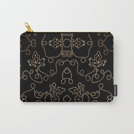 Elegant gold embellishments on black Carry-All Pouch