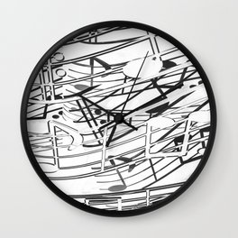 music note sign pattern abstract background in black and white Wall Clock