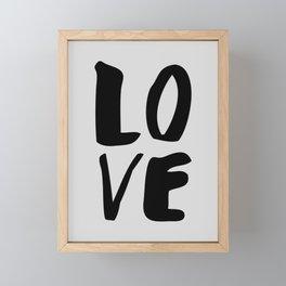 Monochrome LOVE black-white hand lettered ink typography poster design home decor wall art Framed Mini Art Print