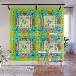 Southwestern  Lime & Turquoise Butterflies Gold Patterns Art Wall Mural