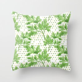 Parsley on Green Yellow Dots Throw Pillow