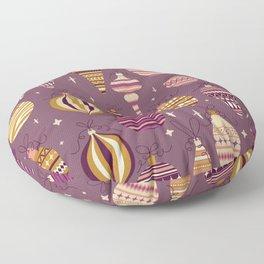 Purple Christmas Bauble Ornaments Pattern Floor Pillow