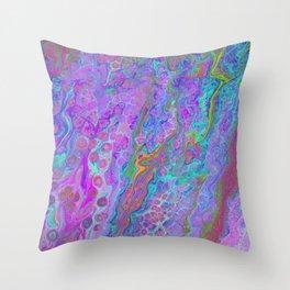 Pink Turquoise Pour Throw Pillow