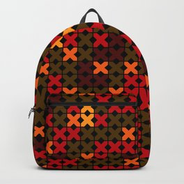 An abstract geometric pattern . Rustic . Backpack