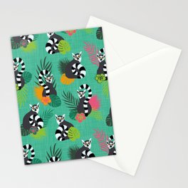 Tropical Lemurs Aquamarine Stationery Cards