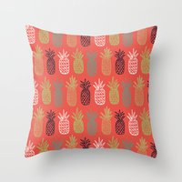 pineapples Throw Pillows featuring Pineapples by Annie Smith Designs