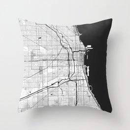 Chicago Map Gray Throw Pillow