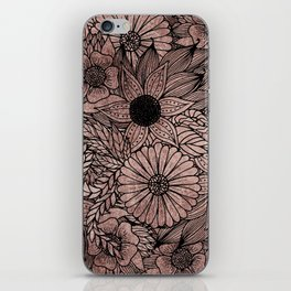 Floral Rose Gold Flowers and Leaves Drawing Black iPhone Skin