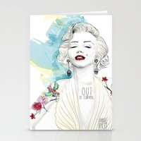 marylin monroe Stationery Cards featuring Marylin Monroe  by sarah rie