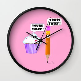 "A Cupcake and A Pencil ""You're Sweet"" Wall Clock"